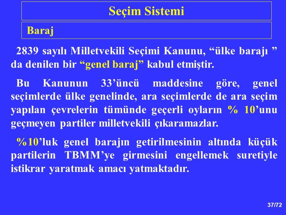 """37/72 2839 sayılı Milletvekili Seçimi Kanunu, """"ülke barajı """" da denilen bir """"genel baraj"""" kabul etmiştir. Bu Kanunun 33'üncü maddesine göre, genel seç"""