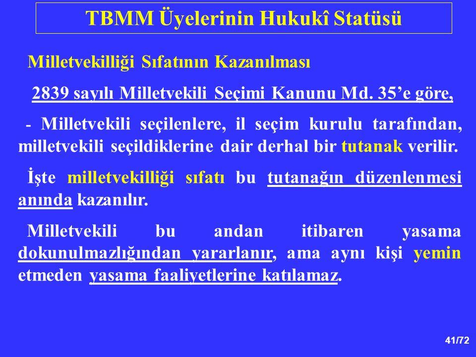 41/72 Milletvekilliği Sıfatının Kazanılması 2839 sayılı Milletvekili Seçimi Kanunu Md. 35'e göre, - Milletvekili seçilenlere, il seçim kurulu tarafınd