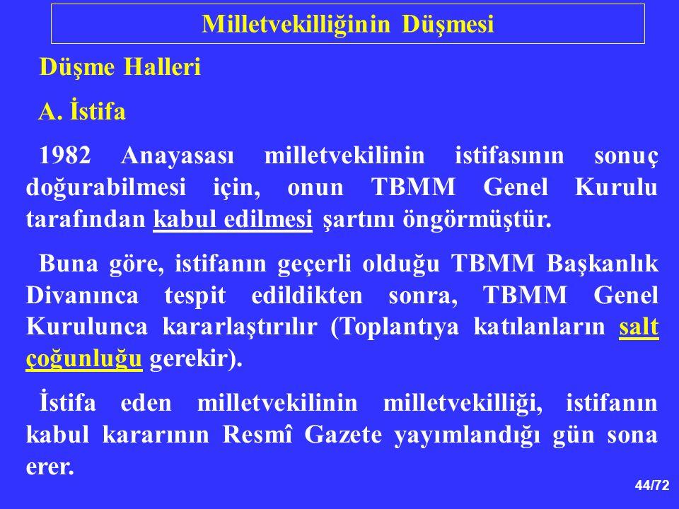 44/72 Düşme Halleri A. İstifa 1982 Anayasası milletvekilinin istifasının sonuç doğurabilmesi için, onun TBMM Genel Kurulu tarafından kabul edilmesi şa