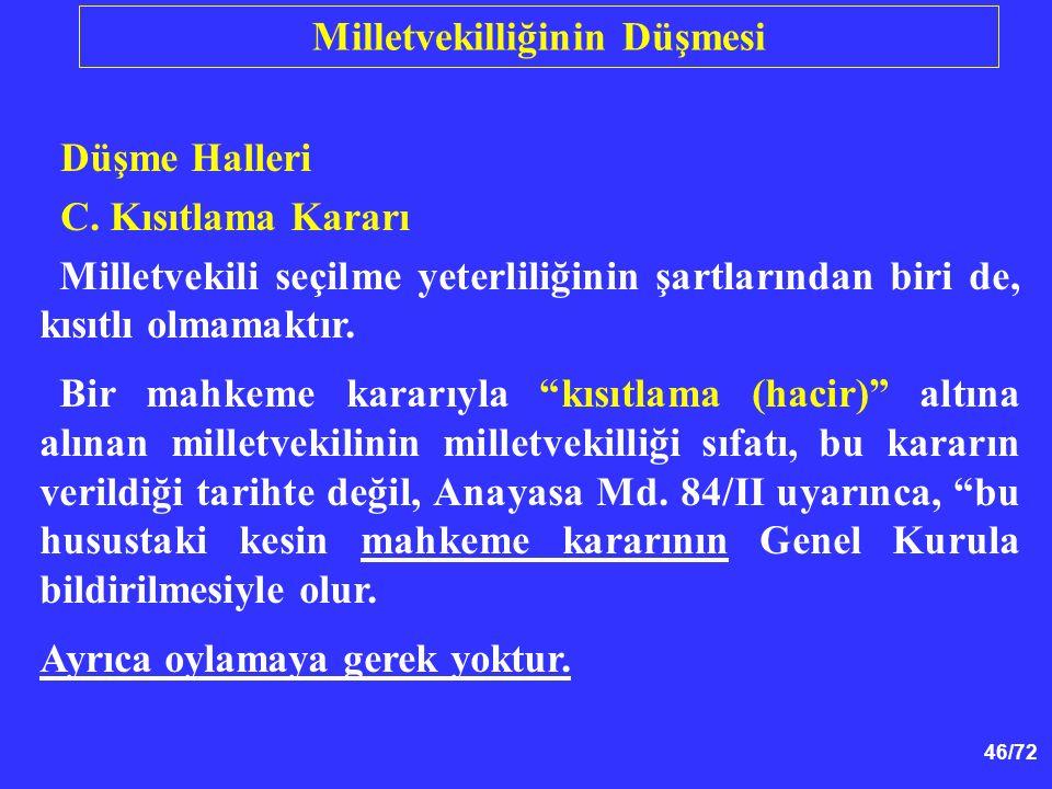 """46/72 Düşme Halleri C. Kısıtlama Kararı Milletvekili seçilme yeterliliğinin şartlarından biri de, kısıtlı olmamaktır. Bir mahkeme kararıyla """"kısıtlama"""