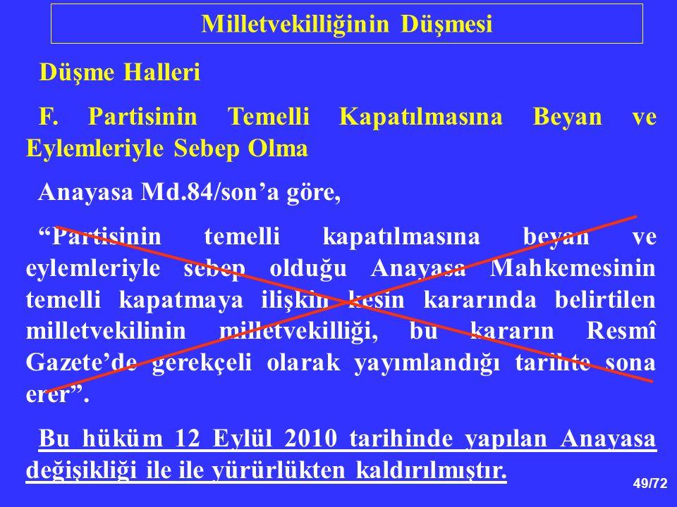 """49/72 Düşme Halleri F. Partisinin Temelli Kapatılmasına Beyan ve Eylemleriyle Sebep Olma Anayasa Md.84/son'a göre, """"Partisinin temelli kapatılmasına b"""