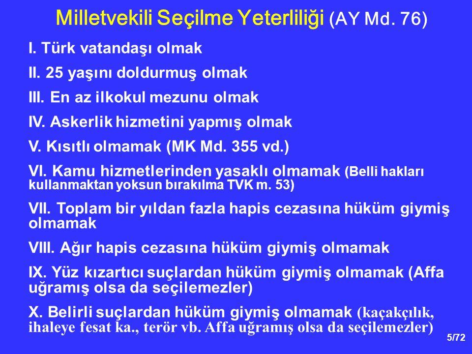 5/72 I. Türk vatandaşı olmak II. 25 yaşını doldurmuş olmak III. En az ilkokul mezunu olmak IV. Askerlik hizmetini yapmış olmak V. Kısıtlı olmamak (MK