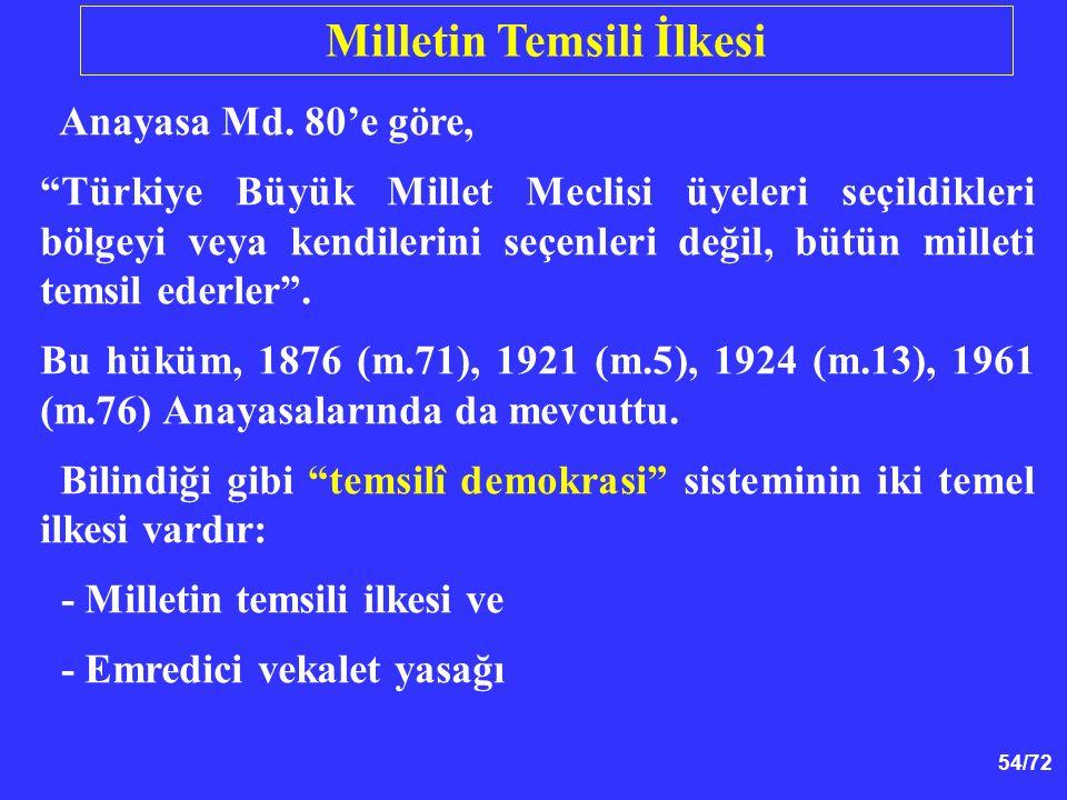 """54/72 Anayasa Md. 80'e göre, """"Türkiye Büyük Millet Meclisi üyeleri seçildikleri bölgeyi veya kendilerini seçenleri değil, bütün milleti temsil ederler"""