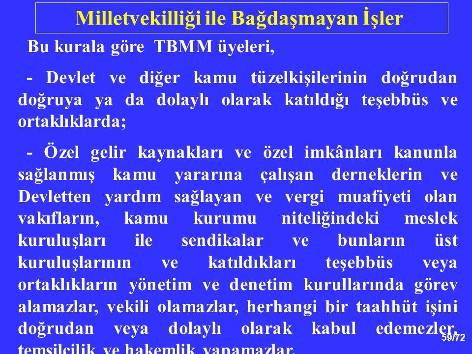 59/72 Bu kurala göre TBMM üyeleri, - Devlet ve diğer kamu tüzelkişilerinin doğrudan doğruya ya da dolaylı olarak katıldığı teşebbüs ve ortaklıklarda;