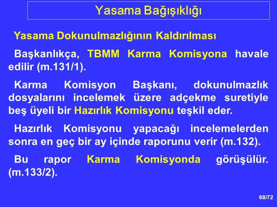 68/72 Yasama Dokunulmazlığının Kaldırılması Başkanlıkça, TBMM Karma Komisyona havale edilir (m.131/1). Karma Komisyon Başkanı, dokunulmazlık dosyaları
