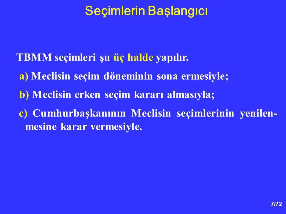 7/72 TBMM seçimleri şu üç halde yapılır. a) Meclisin seçim döneminin sona ermesiyle; b) Meclisin erken seçim kararı almasıyla; c) Cumhurbaşkanının Mec