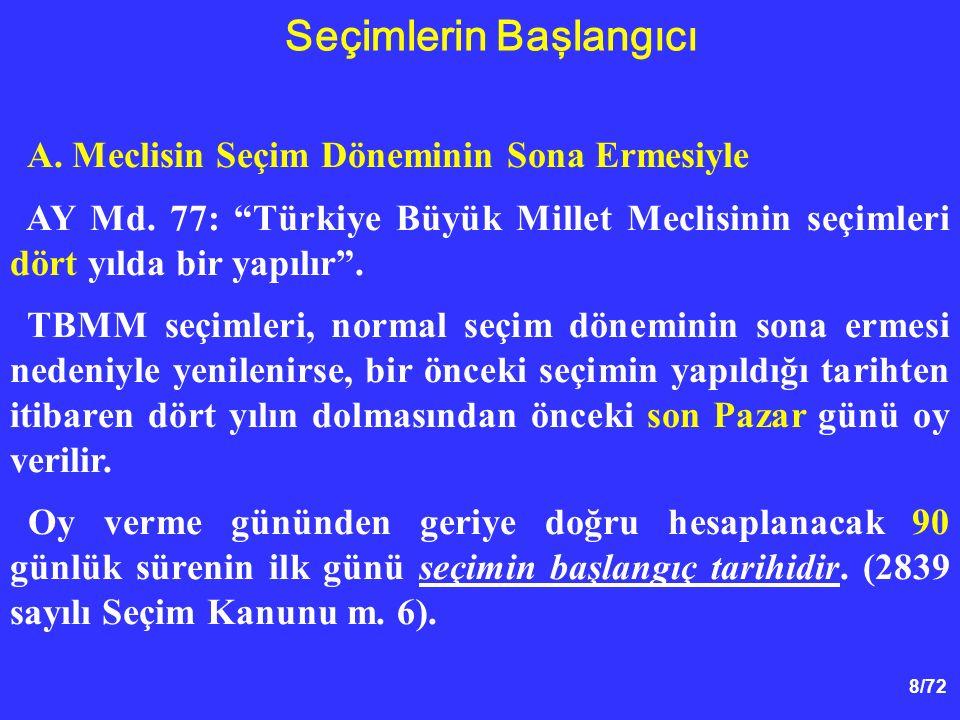 """8/72 A. Meclisin Seçim Döneminin Sona Ermesiyle AY Md. 77: """"Türkiye Büyük Millet Meclisinin seçimleri dört yılda bir yapılır"""". TBMM seçimleri, normal"""