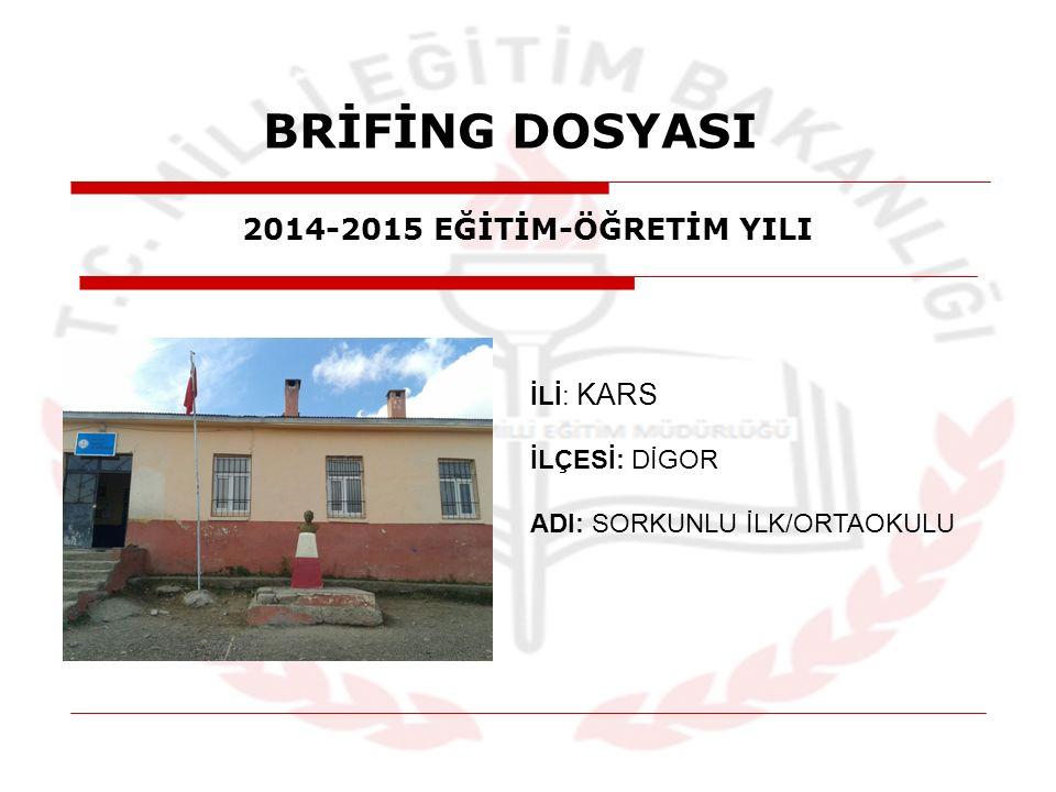 BRİFİNG DOSYASI İLİ: KARS İLÇESİ: DİGOR ADI: SORKUNLU İLK/ORTAOKULU 2014-2015 EĞİTİM-ÖĞRETİM YILI