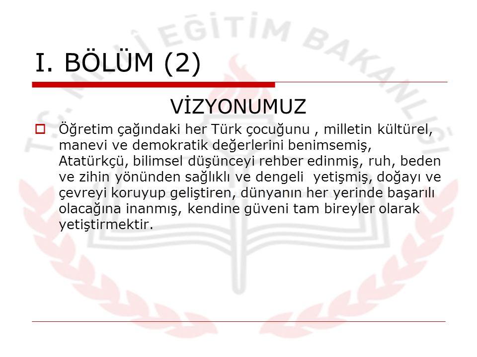 I. BÖLÜM (2) VİZYONUMUZ  Öğretim çağındaki her Türk çocuğunu, milletin kültürel, manevi ve demokratik değerlerini benimsemiş, Atatürkçü, bilimsel düş