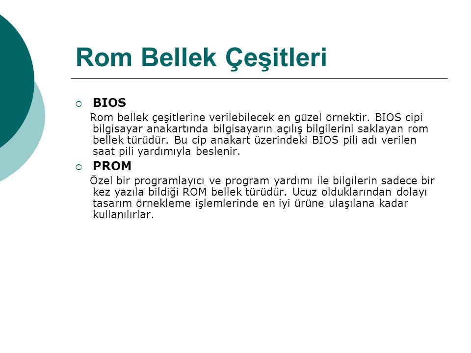 Rom Bellek Çeşitleri  BIOS Rom bellek çeşitlerine verilebilecek en güzel örnektir.