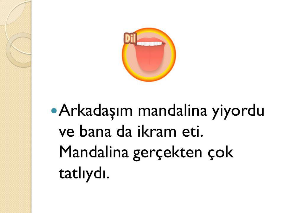 Arkadaşım mandalina yiyordu ve bana da ikram eti. Mandalina gerçekten çok tatlıydı.
