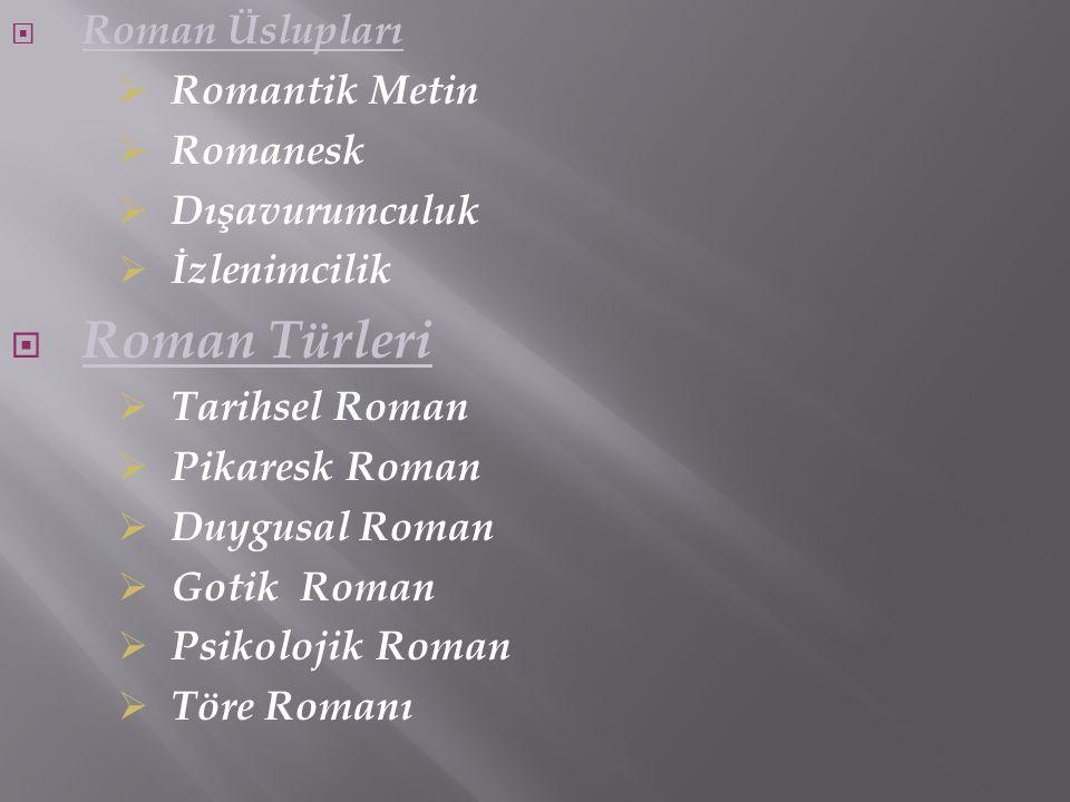  Roman Üslupları  Romantik Metin  Romanesk  Dışavurumculuk  İzlenimcilik  Roman Türleri  Tarihsel Roman  Pikaresk Roman  Duygusal Roman  Got