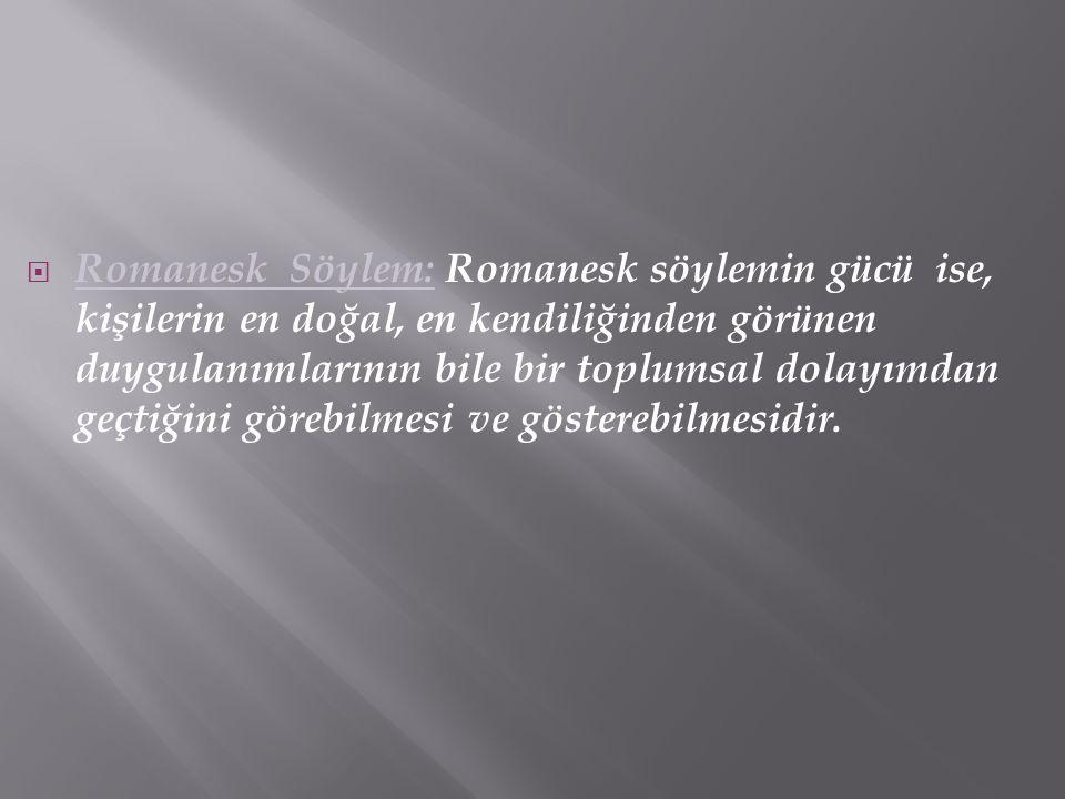  Romanesk Söylem: Romanesk söylemin gücü ise, kişilerin en doğal, en kendiliğinden görünen duygulanımlarının bile bir toplumsal dolayımdan geçtiğini
