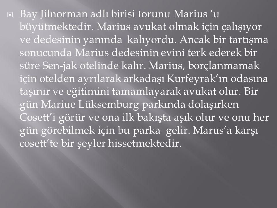  Bay Jilnorman adlı birisi torunu Marius 'u büyütmektedir. Marius avukat olmak için çalışıyor ve dedesinin yanında kalıyordu. Ancak bir tartışma sonu