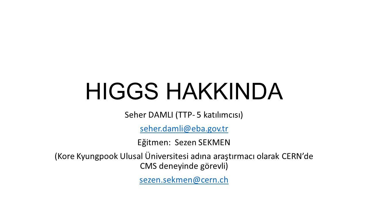 HIGGS HAKKINDA Seher DAMLI (TTP- 5 katılımcısı) seher.damli@eba.gov.tr Eğitmen: Sezen SEKMEN (Kore Kyungpook Ulusal Üniversitesi adına araştırmacı ola