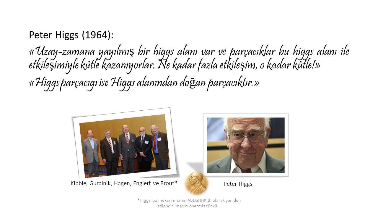 Peter Higgs (1964): «Uzay-zamana yayılmı ş bir higgs alanı var ve parçacıklar bu higgs alanı ile etkile ş imiyle kütle kazanıyorlar. Ne kadar fazla et