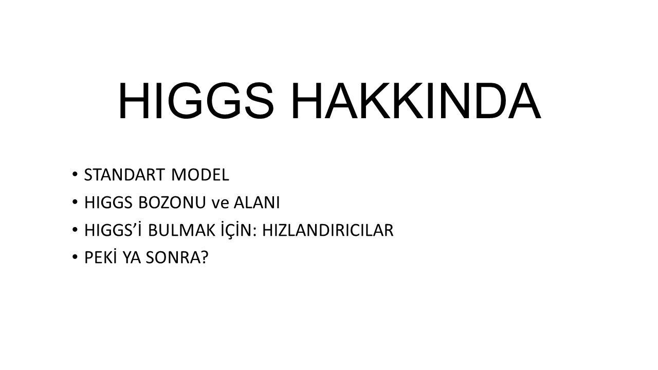 Higgs, şu anki gözlemlere göre Standart Model beklentileri ile uyumlu… Ancak gözlemlerin duyarlılığı arttırılarak bu uyum kesinleştirilmeye çalışılıyor… Gözlemlenecek herhangi bir uyumsuzluk SM ötesi fiziğin varlığını işaret edecektir… Farklı ve yeni kuramlar…