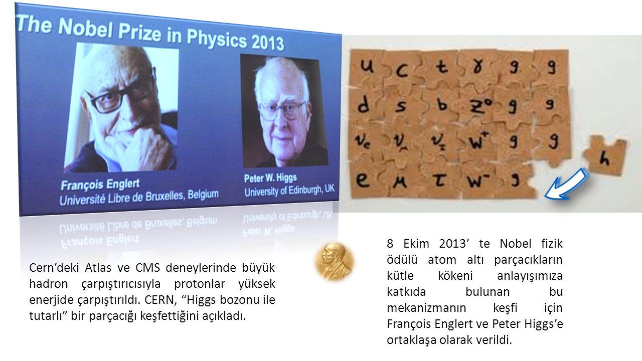 """Cern'deki Atlas ve CMS deneylerinde büyük hadron çarpıştırıcısıyla protonlar yüksek enerjide çarpıştırıldı. CERN, """"Higgs bozonu ile tutarlı"""" bir parça"""
