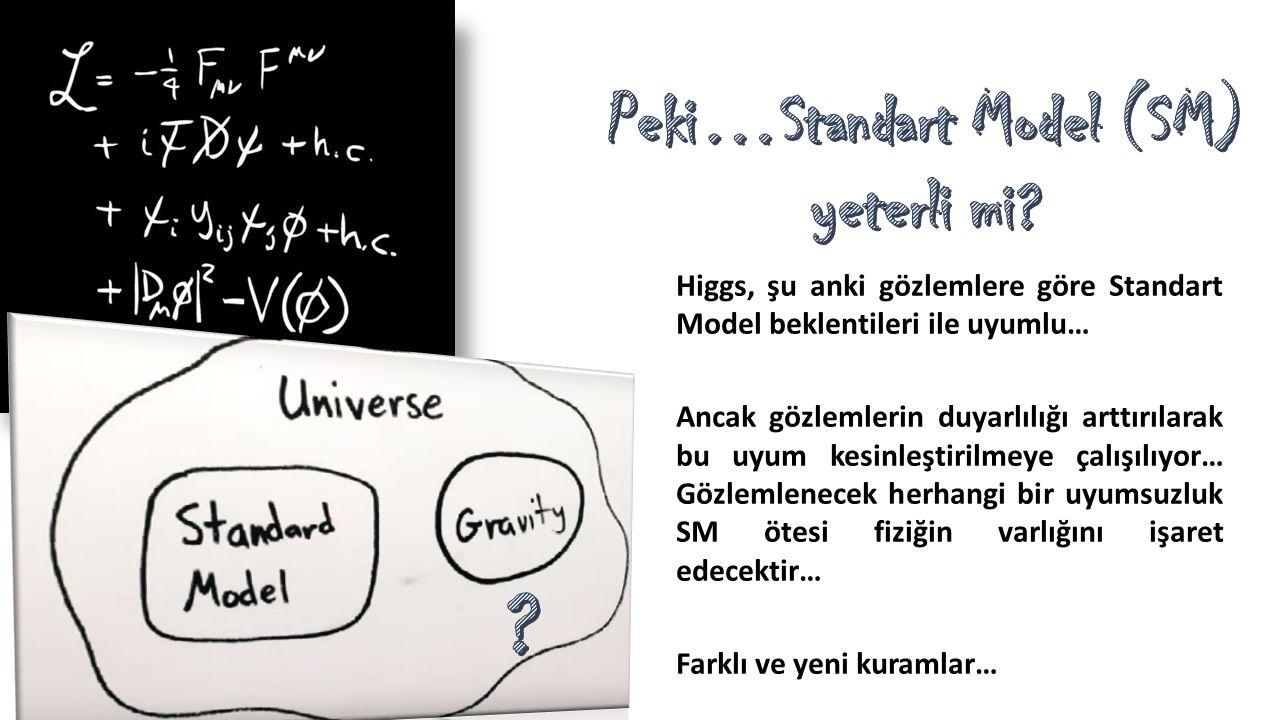 Higgs, şu anki gözlemlere göre Standart Model beklentileri ile uyumlu… Ancak gözlemlerin duyarlılığı arttırılarak bu uyum kesinleştirilmeye çalışılıyo