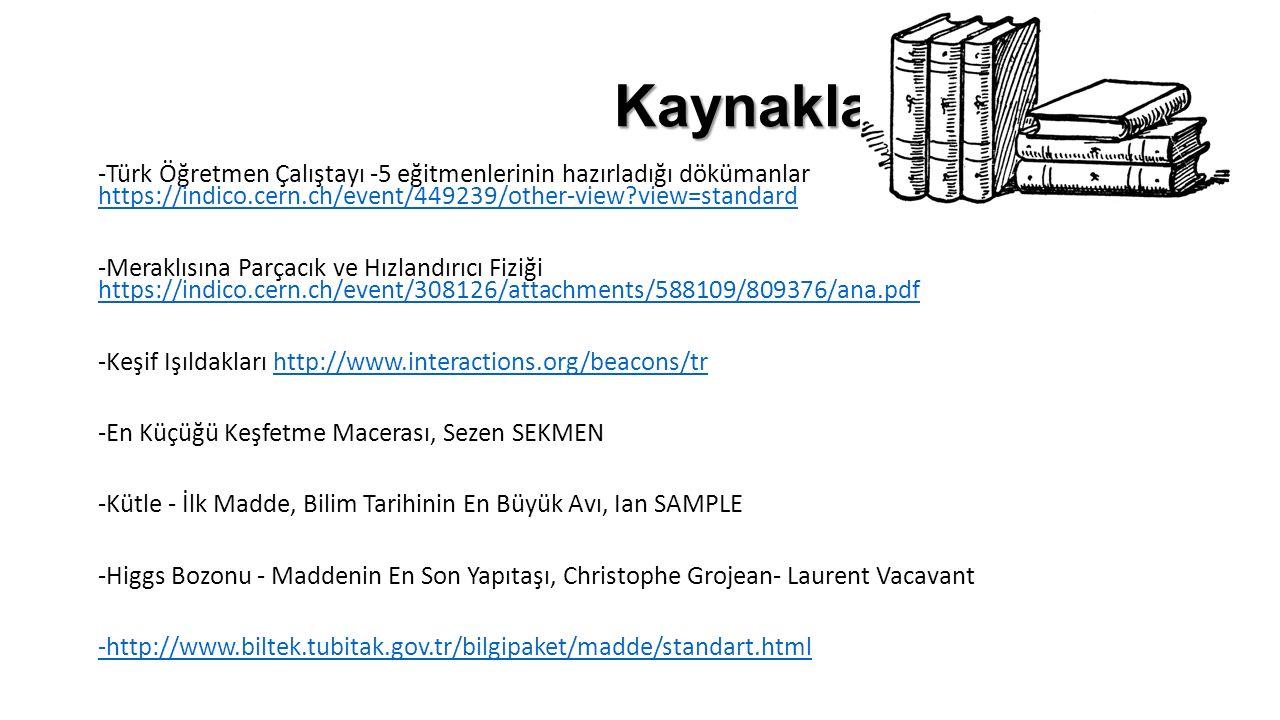 Kaynaklar Kaynaklar -Türk Öğretmen Çalıştayı -5 eğitmenlerinin hazırladığı dökümanlar https://indico.cern.ch/event/449239/other-view?view=standard htt
