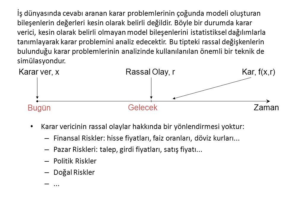 Excel'de Sürekli Dağılımlara Uygun Rassal Sayı Üretilmesi Bir önceki kısımda uygulanan örnekteki rassal değişkenin olasılık dağılımı kesikli düzgün bir dağılım olduğu için =RAND() fonksiyonu ile uygun rassal sayılar üretilmişti.