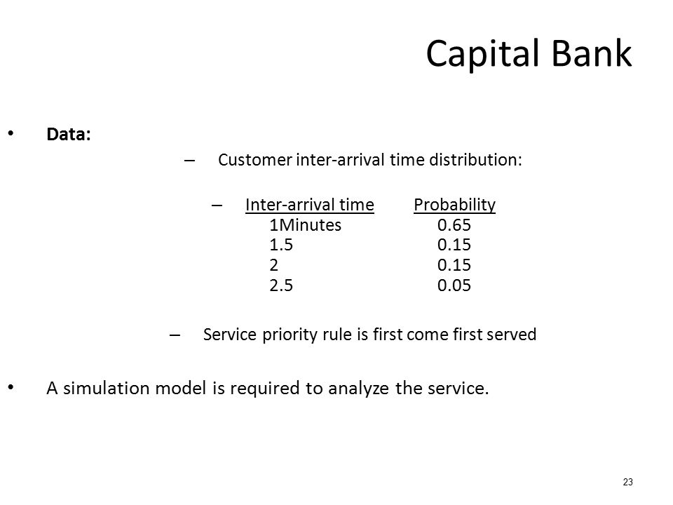 23 Data: – Customer inter-arrival time distribution: – Inter-arrival timeProbability 1Minutes0.65 1.50.15 20.15 2.50.05 – Service priority rule is fir