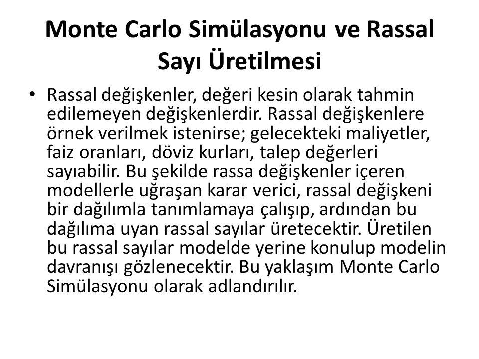 Monte Carlo Simülasyonu ve Rassal Sayı Üretilmesi Rassal değişkenler, değeri kesin olarak tahmin edilemeyen değişkenlerdir. Rassal değişkenlere örnek