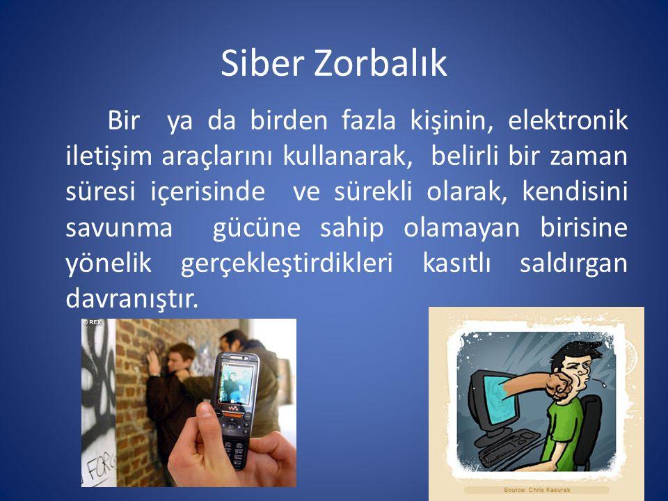 Siber Zorbalık Araçları SMS, MMS Sosyal Paylaşım Siteleri (arkadaşlık siteleri, bloglar, internet forumları, internet sözlükleri) Resim/Video Klip Telefon E-Mail Chat Odaları Anlık Mesajlaşma(MSN, ICQ) Web Siteleri