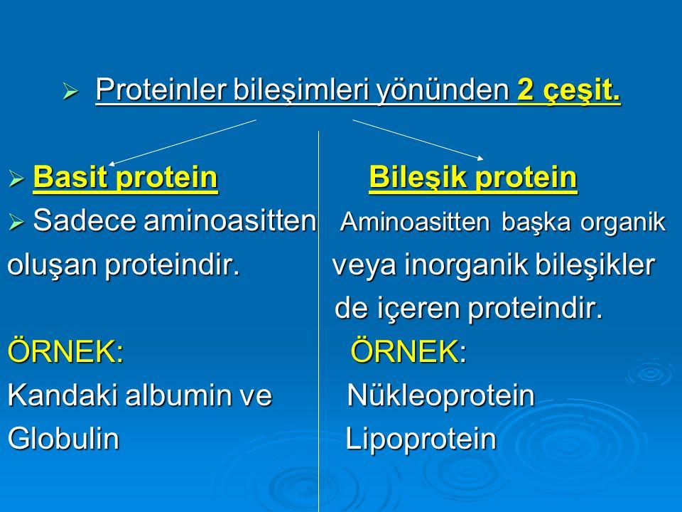  Proteinler bileşimleri yönünden 2 çeşit.  Basit protein Bileşik protein  Sadece aminoasitten Aminoasitten başka organik oluşan proteindir. veya in