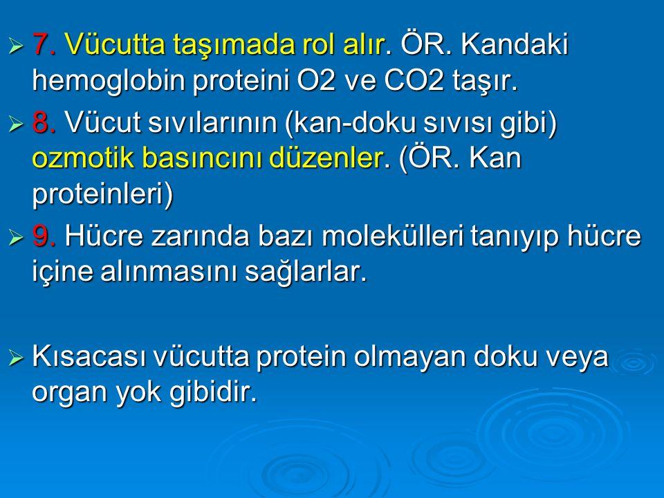  7. Vücutta taşımada rol alır. ÖR. Kandaki hemoglobin proteini O2 ve CO2 taşır.  8. Vücut sıvılarının (kan-doku sıvısı gibi) ozmotik basıncını düzen