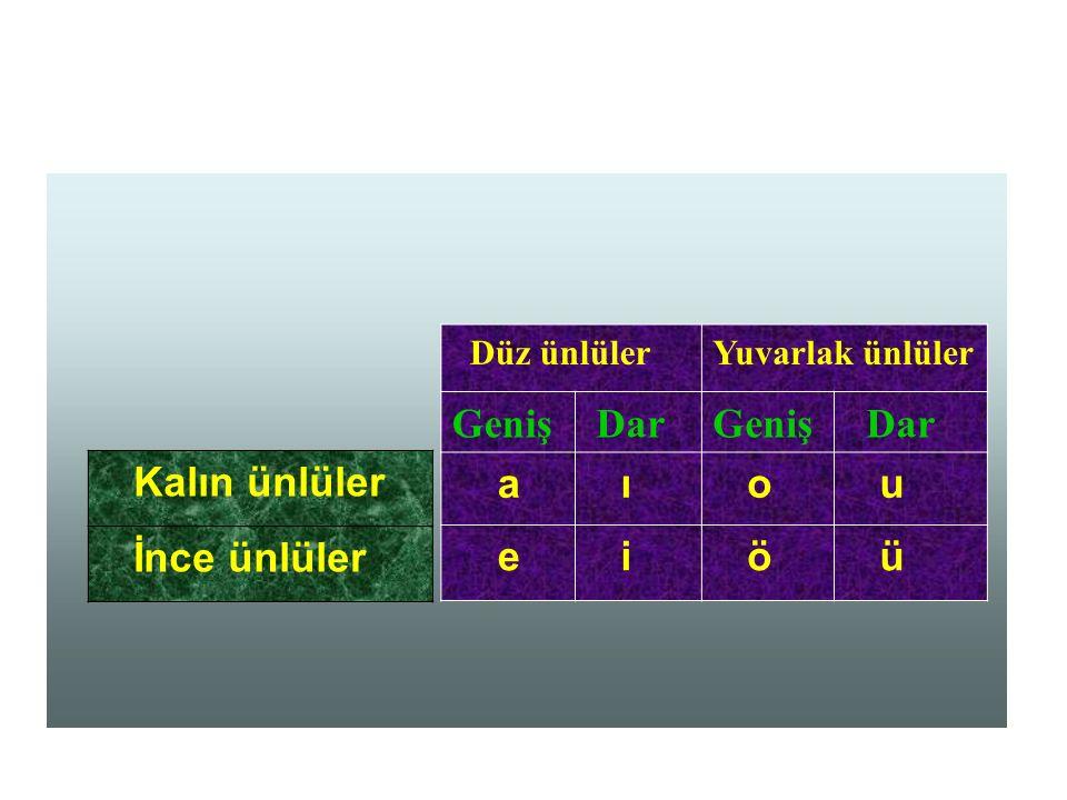  ünsüzler  Süreksiz  Sürekli Ünsüz p, ç, t, k f, h, s, ş b, c, d, g ğ, j, l, m, n, r, v, y, z Sert ünsüz Yumuşak ünsüz