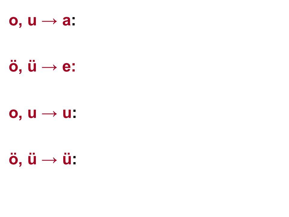 o, u → a: orman, ozan, oba, ova, çoğalmak, uğramak, ulaşmak, uzak, ö, ü → e: öyle, ötmek, öte, ödenek, söyle, gölge ürkek, üleşmek, güreş, kürek, süslenmek o, u → u: ordu, boğul, doğu, dokuz, oğuz, bozuk uğur, suçlu, burun, durum, kuruluş ö, ü → ü: ölüm, bölüm, çözüm, döküntü üzüntü, büzüşük, dürüm, yüzücü
