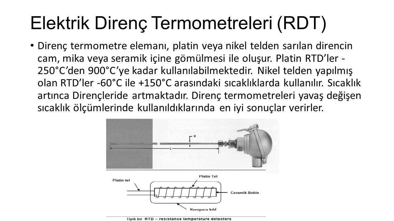 Elektrik Direnç Termometreleri (RDT) Direnç termometre elemanı, platin veya nikel telden sarılan direncin cam, mika veya seramik içine gömülmesi ile o
