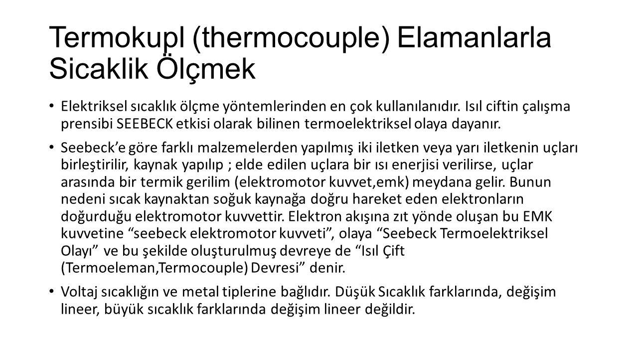 Termokupl (thermocouple) Elamanlarla Sicaklik Ölçmek Elektriksel sıcaklık ölçme yöntemlerinden en çok kullanılanıdır. Isıl ciftin çalışma prensibi SEE