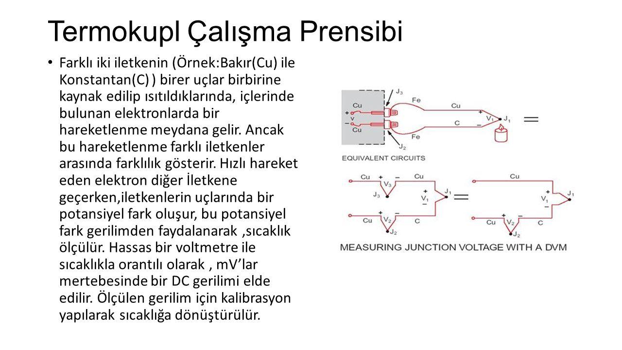Termokupl Çalışma Prensibi Farklı iki iletkenin (Örnek:Bakır(Cu) ile Konstantan(C) ) birer uçlar birbirine kaynak edilip ısıtıldıklarında, içlerinde b