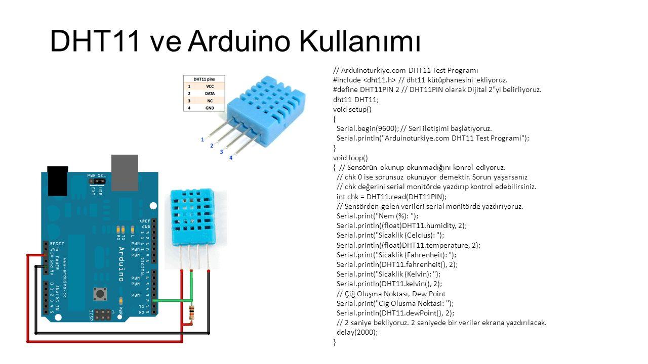 DHT11 ve Arduino Kullanımı // Arduinoturkiye.com DHT11 Test Programı #include // dht11 kütüphanesini ekliyoruz. #define DHT11PIN 2 // DHT11PIN olarak