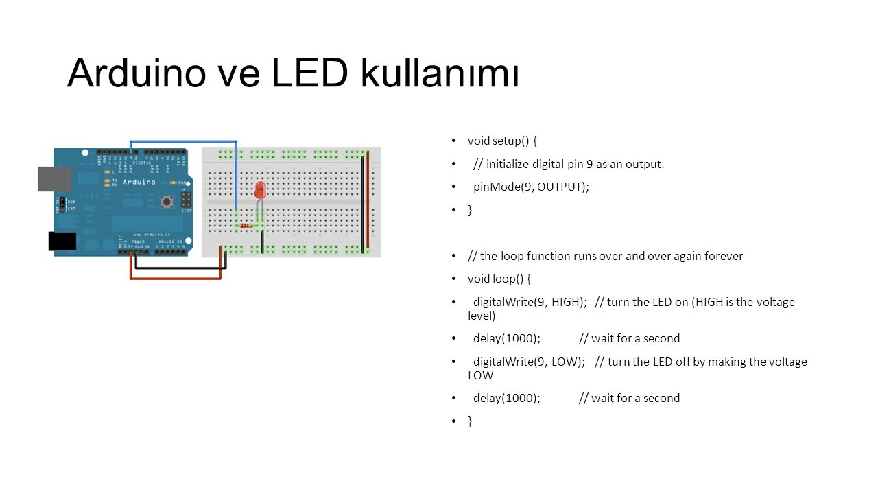 Arduino ve LED kullanımı void setup() { // initialize digital pin 9 as an output. pinMode(9, OUTPUT); } // the loop function runs over and over again