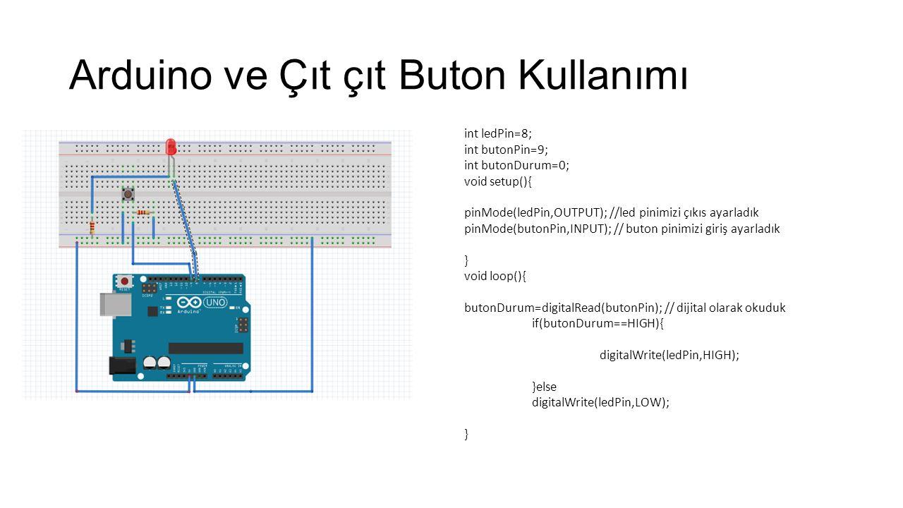 Arduino ve Çıt çıt Buton Kullanımı int ledPin=8; int butonPin=9; int butonDurum=0; void setup(){ pinMode(ledPin,OUTPUT); //led pinimizi çıkıs ayarladı