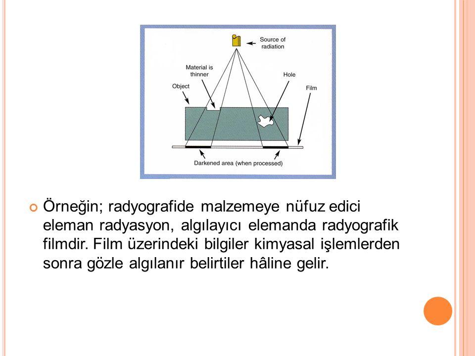 Örneğin; radyografide malzemeye nüfuz edici eleman radyasyon, algılayıcı elemanda radyografik filmdir. Film üzerindeki bilgiler kimyasal işlemlerden s