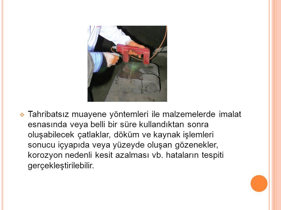  Tahribatsız muayene yöntemleri ile malzemelerde imalat esnasında veya belli bir süre kullandıktan sonra oluşabilecek çatlaklar, döküm ve kaynak işle