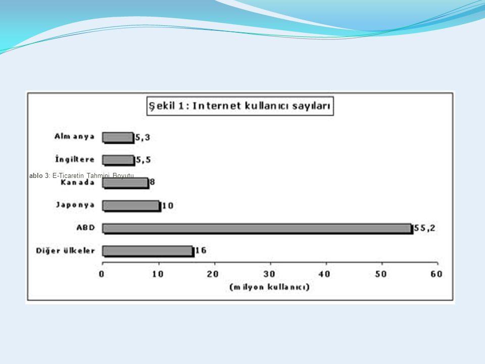 ablo 3: E-Ticaretin Tahmini Boyutu