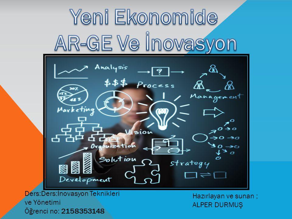 Hazırlayan ve sunan ; ALPER DURMUŞ Ders:Ders:İnovasyon Teknikleri ve Yönetimi Öğrenci no: 2158353148