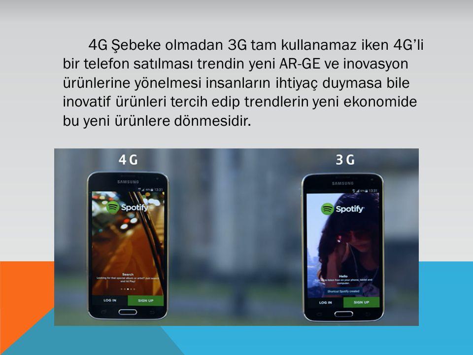 4G Şebeke olmadan 3G tam kullanamaz iken 4G'li bir telefon satılması trendin yeni AR-GE ve inovasyon ürünlerine yönelmesi insanların ihtiyaç duymasa b