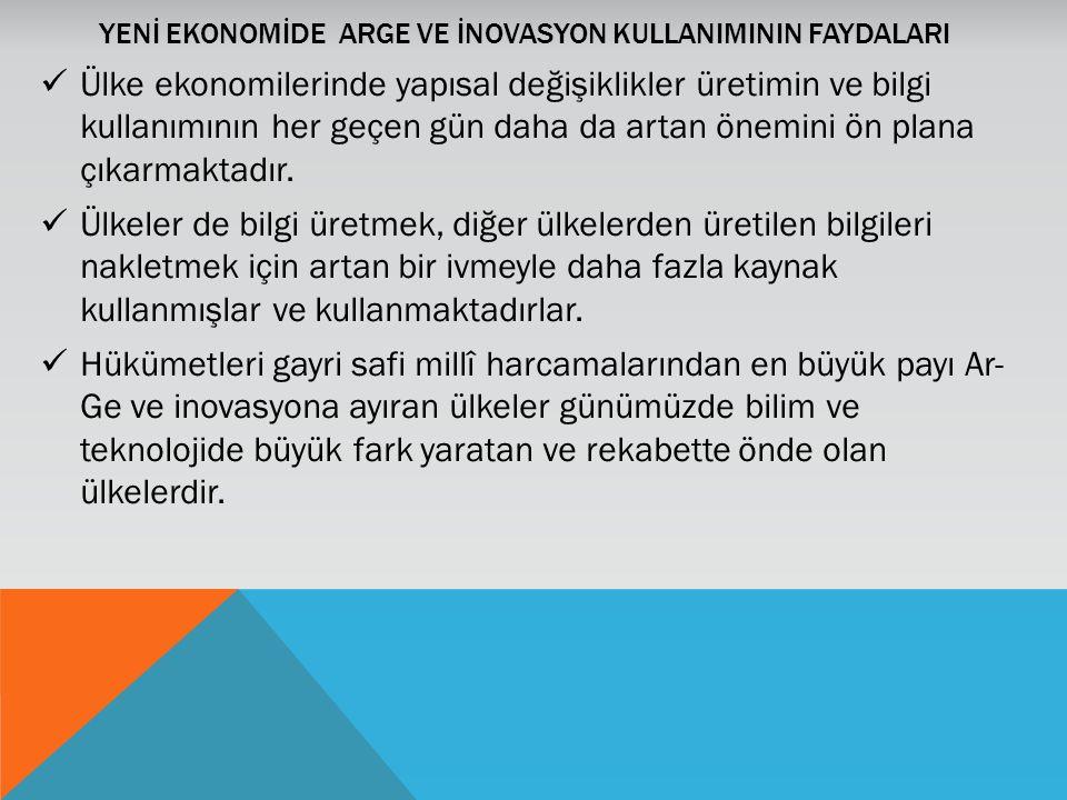 YENİ EKONOMİDE ARGE VE İNOVASYON KULLANIMININ FAYDALARI Ülke ekonomilerinde yapısal değişiklikler üretimin ve bilgi kullanımının her geçen gün daha da