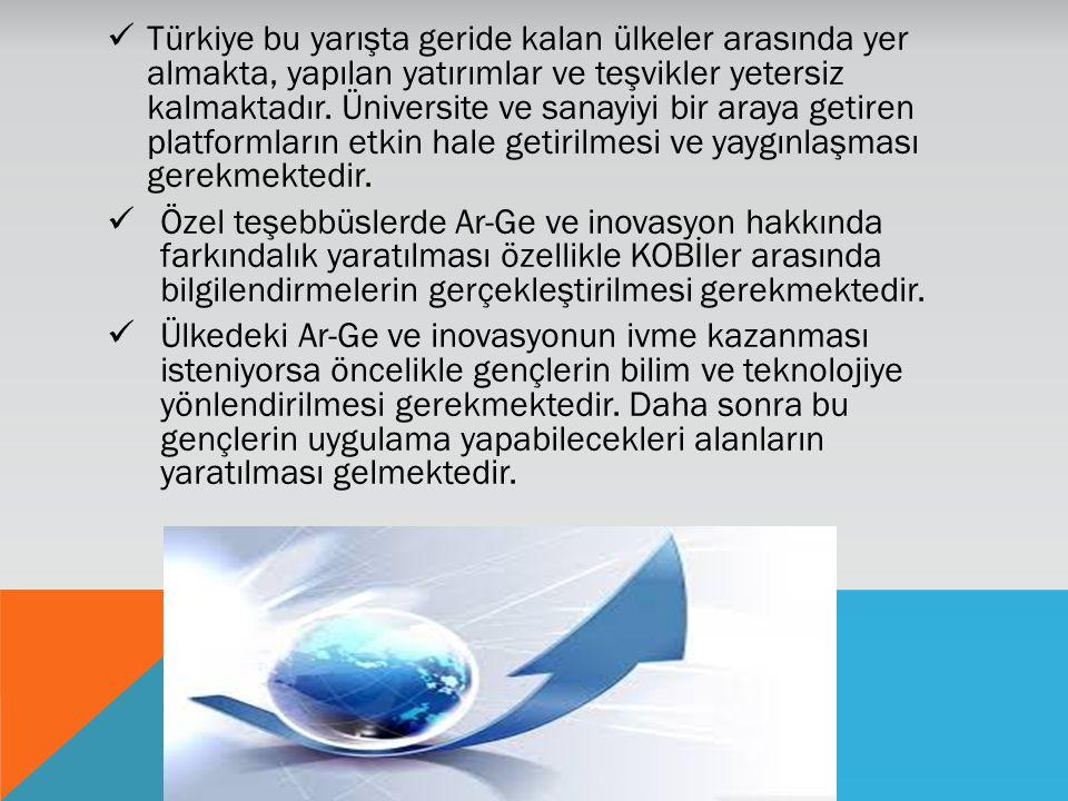 Türkiye bu yarışta geride kalan ülkeler arasında yer almakta, yapılan yatırımlar ve teşvikler yetersiz kalmaktadır. Üniversite ve sanayiyi bir araya g