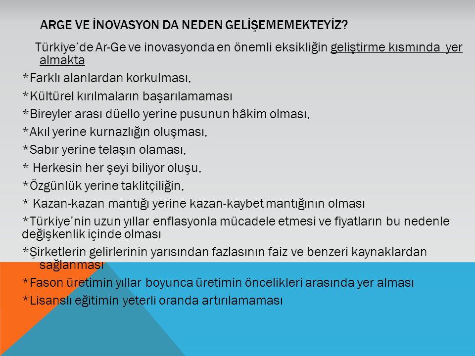 ARGE VE İNOVASYON DA NEDEN GELİŞEMEMEKTEYİZ? Türkiye'de Ar-Ge ve inovasyonda en önemli eksikliğin geliştirme kısmında yer almakta *Farklı alanlardan k