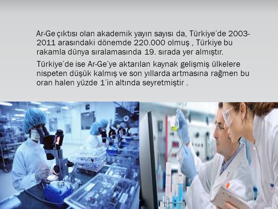 Ar-Ge çıktısı olan akademik yayın sayısı da, Türkiye'de 2003- 2011 arasındaki dönemde 220.000 olmuş, Türkiye bu rakamla dünya sıralamasında 19. sırada
