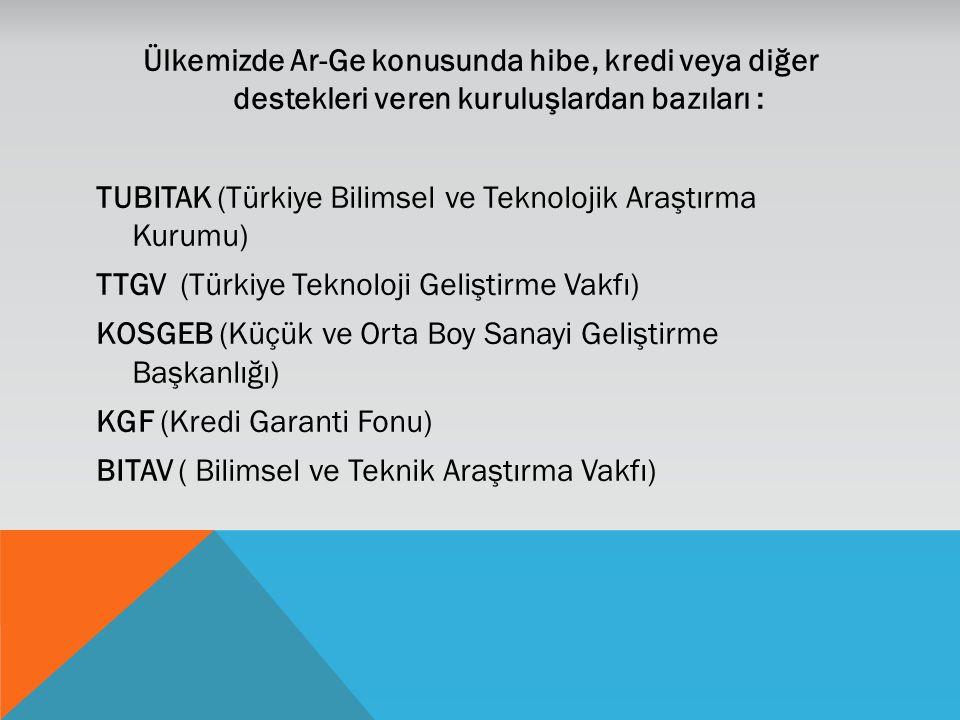 Ülkemizde Ar-Ge konusunda hibe, kredi veya diğer destekleri veren kuruluşlardan bazıları : TUBITAK (Türkiye Bilimsel ve Teknolojik Araştırma Kurumu) T