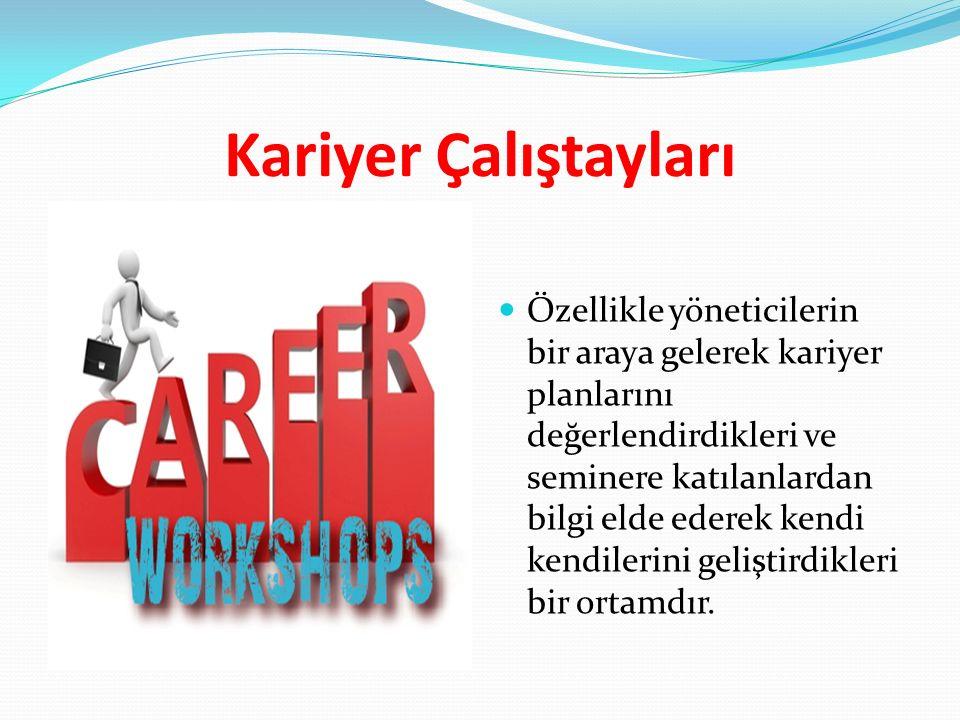 Kariyer Çalıştayları Özellikle yöneticilerin bir araya gelerek kariyer planlarını değerlendirdikleri ve seminere katılanlardan bilgi elde ederek kendi