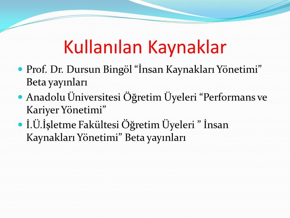 """Kullanılan Kaynaklar Prof. Dr. Dursun Bingöl """"İnsan Kaynakları Yönetimi"""" Beta yayınları Anadolu Üniversitesi Öğretim Üyeleri """"Performans ve Kariyer Yö"""